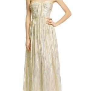 {Erin Fetherston} gold metallic strapless gown
